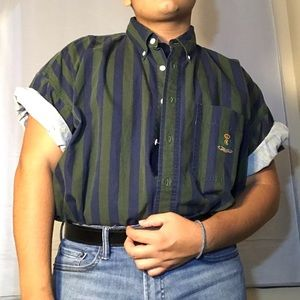 Blue and green striped button up